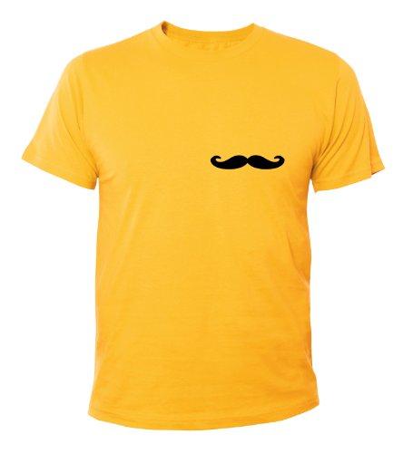 Mister Merchandise Cooles Fun T-Shirt Moustache Gelb