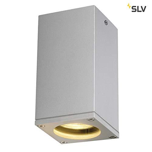 SLV THEO Outdoor Deckenleuchte, Aluminium, GU10, silbergrau - Outdoor-beleuchtung Deckenleuchte
