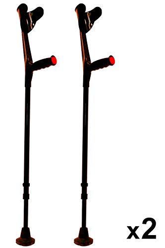 kmina - stampelle ortopediche regolabili adulto, stampelle canadesi regolabili, stampelle ortopediche, stampelle antiscivolo comfort nero 2 unitàs