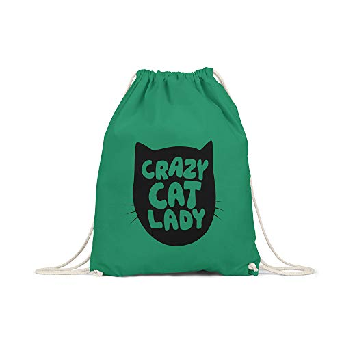Katzen Womens Baumwolle (licaso Turnbeutel Bedruckt Crazy Cat Lady Print in Grün Gym Bag Kordel Katze Mieze Frau Druck Ökologisch & Nachhaltig 100% Baumwolle)