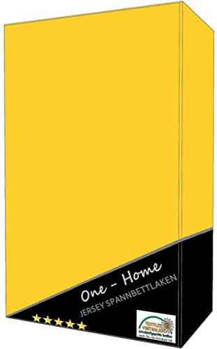 2er Pack Spannbettlaken gelb 90 - 100 cm x 200 cm ( Jersey ) 100% Baumwolle mit Rundumgummizug