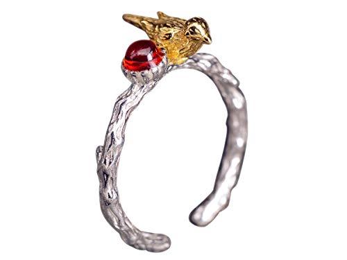 NicoWerk Damen Silberring Vogel aus 925 Sterling Silber Ast Granat Rot Golden Ethno Natur Verstellbar Offen SRI350