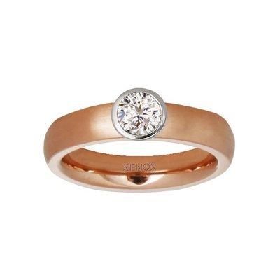 Preisvergleich Produktbild Xenox Ring 50 - Edelstahl Zirkonia - rosé
