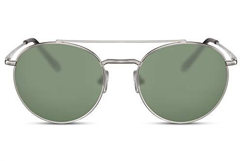 Cheapass Rund-e Sonnenbrille Silber Doppelte Brücke Grün-e Gläser UV-400 Festival-Brille Damen