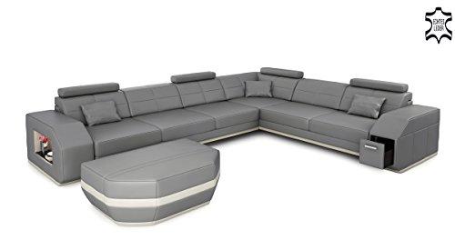 Ledersofa Ledercouch Eckcouch Ecksofa Wohnlandschaft Leder Sofa Couch L-Form mit LED-Licht Beleuchtung Designsofa FRANKFURT II