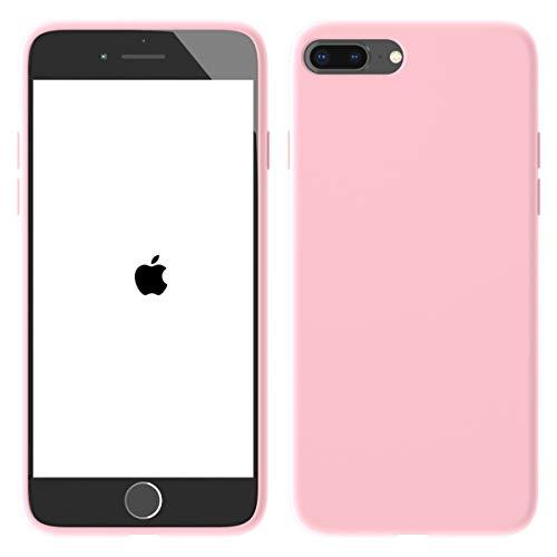 Aucaeo cover iphone 7 plus, cover iphone 8 plus, originale 360 gradi silicone [ custodia + e pellicola vetro temperato ] antiurto liquido ultrasottile protettiva morbide ultra sottile armor, rosa