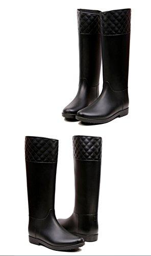KISS GOLD (TM) Délicat Mi-Mollet Bottes de Pluie Chaussures pour Femmes Noir
