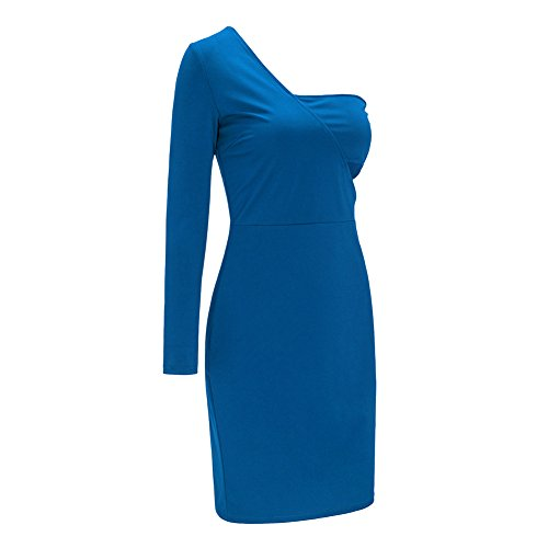 Leezeshaw Damen Kleid Blau
