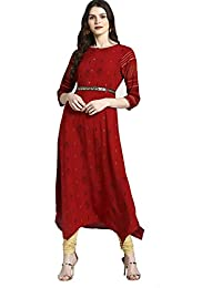 ATEESA By FBB Asymmetric Kurta with Sequin Belt