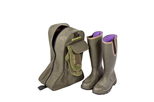 Snowbee rígida, resistente botas de arranque bolsa de almacenamiento con cierre de cremallera, resistente al agua base & Bolsillo lateral de calcetín, color oliva, talla única