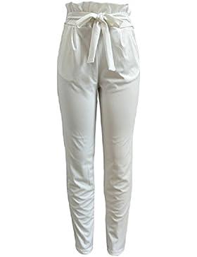 SYGoodBUY Pantalones de Verano de Primavera y Verano de Las Mujeres Pantalones de Volantes con Cordón Ajustable...
