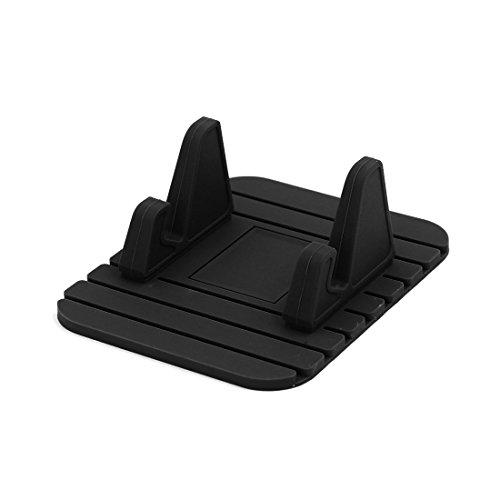 Preisvergleich Produktbild sourcing map Schwarz rutschfest Silikon Handy Tablett Halter Stand Pad für Auto Büro Haus