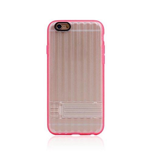 Phone case & Hülle Für IPhone 6 Plus / 6s Plus, Vertical Stripe Style Transparente Rückseite Cover Schutzhülle mit Halter ( Color : Magenta ) Magenta