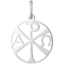 CHRISME AJOUREE - Médaille Religieuse - Or Blanc 18 carats - Diamètre: 18 mm - www.diamants-perles.com