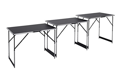 Meister Multifunktionstisch 3-teilig - 30 kg Tragkraft je Tisch (100 x 60 cm) - 4-fach höhenverstellbar - Klappfunktion / Tapeziertisch / Buffettisch / Flohmarkttisch / Beistelltisch / 4357760