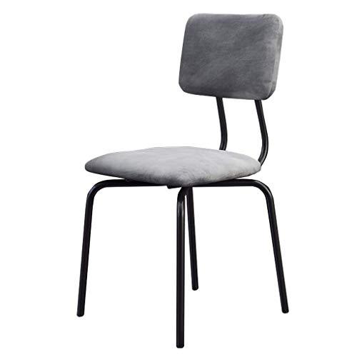 JBD Esszimmerstühle Metallbeine für Esszimmerstühle Bar-/Pub-Hocker mit mittlerer Rückenlehne, moderner Freizeit-Polsterstuhl, Sitz aus grauem Samt -