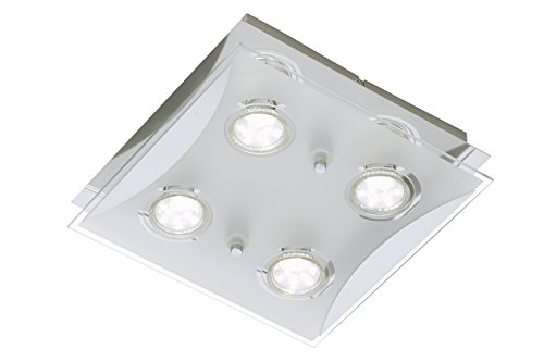LED Deckenleuchte, Deckenlampe, Deckenstrahler, Spots, Wohnzimmer-lampe, Deckenspot, Lampe-Kinderzimmer, Deckenbeleuchtung, Deckenleuchte Schlafzimmer-Kinderzimmer, Wohnzimmerleuchte, 4xLED, GU10, 3 W, 250 Lumen, eckig, chrom - Chrom Solide Basis