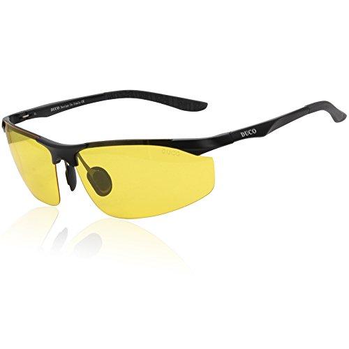 DUCO dunkles Licht, Nacht-Kontrast-Brille Nachtfahrbrille Nachtsichtbrillen Anti-Glanz polarisierte Brille mit gelben Gläsern 8179 (Schwarz)