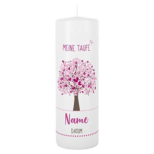 Striefchen® Taufkerze mit Lebensbaum und Aufdruck des Namen und Datum sowie Taufspruch Weiß - Rosa