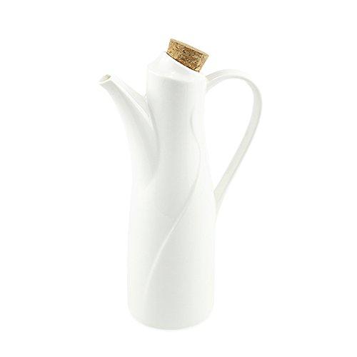 Öl-Spender Flasche, 250ml (8,78oz), 77L Keramik Tischplatte Olivenöl Spender Flasche, Soja, Sauce oder Essig Essig mit Ausgießer Weiß Keramik Abendessen Liquid Zutatenspender (Keramik-abendessen)