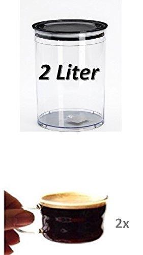 Kaffeedose/Tasse100/Haushaltsdose 2 Liter Volumen + 2 Mundgeblasene edle Tassen 100ml mit Henkel