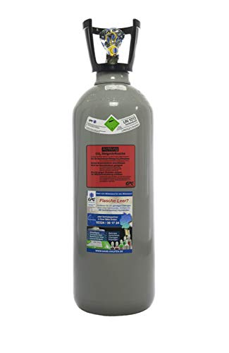10 kg Kohlensäure Flasche/CO2 Flasche mit Steigrohr / Gasflasche (Eigentumsflasche) gefüllt mit Kohlensäure(CO2) / Lebensmittelqualität nach E290/ kurze Bauform/ NEUE Flasche/ 10 Jahre TÜV ab Herstelldatum/ made in EU