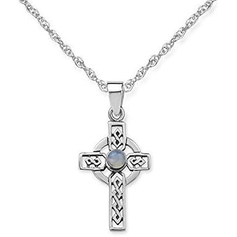 Celtico argento Iona Croce con gemma Scozzese, con catena 16