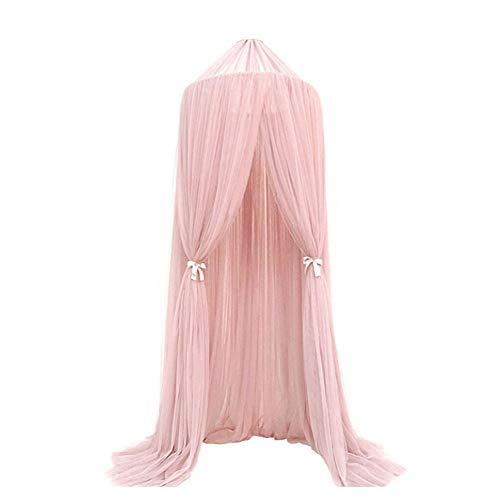 Cama Dosel para niñas/niños/bebé juegos casa, mosquitera para cama de niños jugando/cúpula de lectura, redondo malla cortinas mosquitera dosel tienda rosa rosa