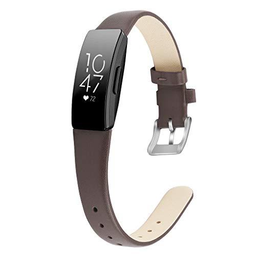 Waotier für Fitbit Inspire HR Armband Größe S Leder Armband Kompatibel für Fitbit Inspire Armband und für Fitbit Inspire HR mit Edelstahl Verschluss für Fitbit Inspire HR Armbänder (Dunkelbraun)