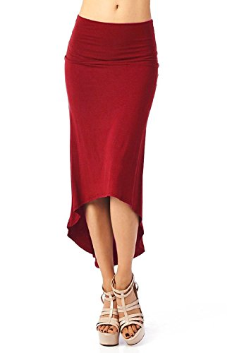 Damen Mode Vokuhila Röcke Einfarbig Bleistift Rock Reizvolle High Waisted Strandrock Freizeit Sommerrock (Rock Leinen Mischung)