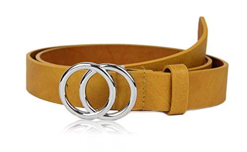irisaa Schmaler Damen Gürtel mit runder Metallschnalle zwei Ringen, 2,8 cm breit und 0,4 cm stark, Länge:80, Farbe:Aprikose mit Silberring