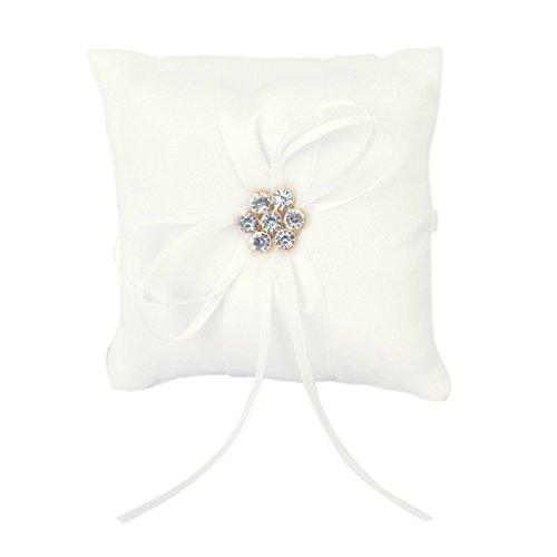 Ivory Satin Diamante Blumenhochzeits Party Tasche Ring Kissen Kissen