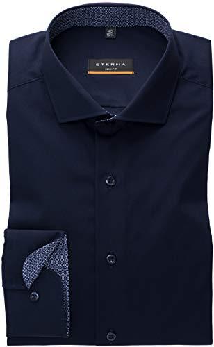 eterna Herren Hemd Langarm Slim-Fit Blau, Farbe:19 Marine, Größe:39