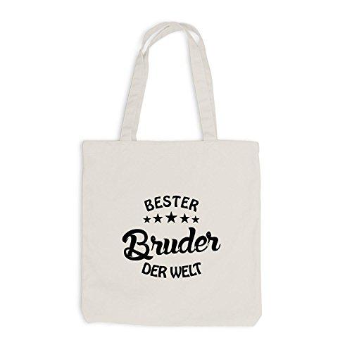 Jutebeutel - Bester Bruder auf der Welt - Brudi Bro Brother Beige