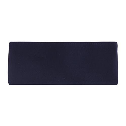 Damara Damen Elegant Hochwertige Satin Lang Abendtasche,Navyblau Silber