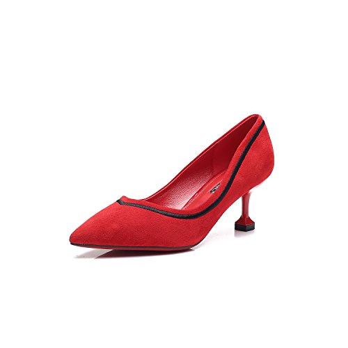 Punta di alta scarpe tacco nero elegante appuntita di raso tacchi alti con sottili e la luce per le scarpe singolo The Red