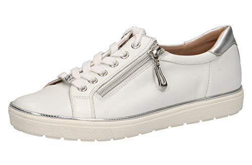 CAPRICE 23606-22 Damen sportlicherSchnürer,Halbschuh,Schnürschuh,Strassenschuh,Sneaker,sportlich,modisch,Freizeitschuh,(191) White/Silver,40.5 EU / 7 UK