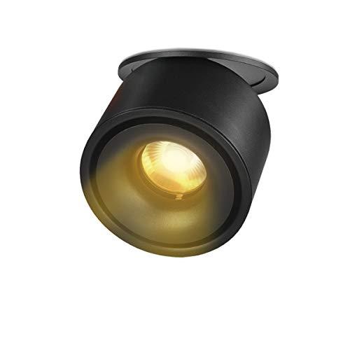LANBOS 10W plafonnier spot LED downlight,LED Spots Encastrables, Aangle du corps de lampe réglable, Plafonnier d'intérieur,10 * 8cm,Trou 9-9.5cm (Noir+blanc chaud)