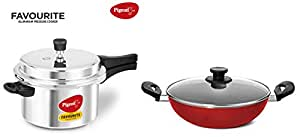 Pigeon By Stovekraft Favourite Induction Base Aluminum Pressure Cooker with Outer Lid, 5 litres, Silver & Mio Aluminum Kadai with Lid, 240mm, Red Combo