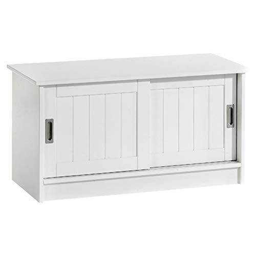 IDIMEX Sitzbank Garderobenbank Hein in weiß mit 2 Schiebetüren, aus MDF gearbeitet