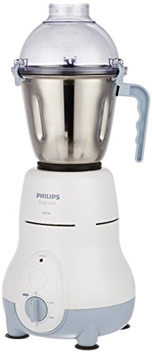 Philips HL1643/04 600-Watt Simply Silent Vertical Mixer Grinder with 3 Jars (White/Grey)