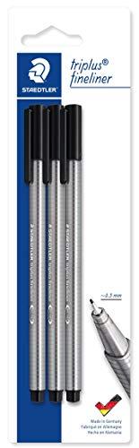 STAEDTLER penne nere Triplus fineliner, punta fine rinforzata 0.3 mm, fusto ergonomico, confezione da 3 fineliner, 334 BK3