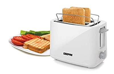 Geepas 870W 2 Slice Bread Toaster | Toaster with 7 Level Browning Control, Removable Crumb Tray & One-Touch Cancel Button | Slide Out Crumb Tray, Wide Slots & Bun Warmer - 2 Year Warranty