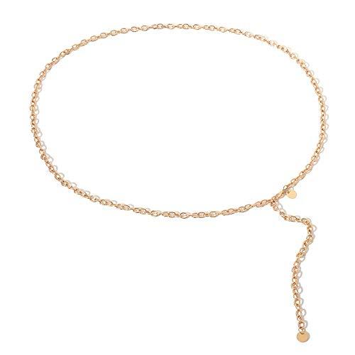 Frauen Dünne Kette Kleid Weibliche Gold Silber Körper Taille Kette Gürtel Bauch Körperschmuck Damen Quaste Pailletten Geometrische Metallgürtel, Gold -