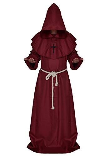 Rote Der Kostüm Priester Robe - JFQ-Party Mask Halloween Cosplay Kostüm, Mittelalterliche Mönch Priester Robe Zauberer Kleidung Christian Kleidung Anzüge,Rot,XL