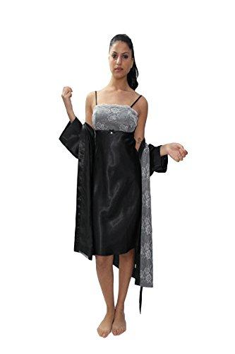 110d8ef7e6 Completo sposa composto da camicina Corta con Pizzo PIU  Kimono Corto in  Raso 42