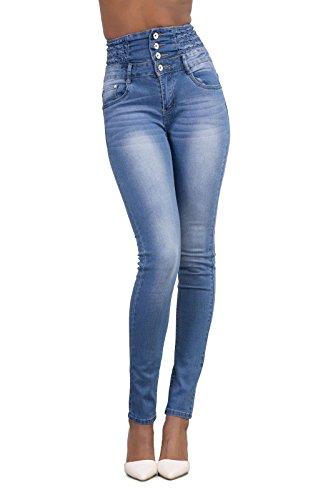 Minetom donna casuale alta vita elastico skinny jeans pantaloni stretti eleganti leggings lunghi matita pantaloni in denim pants blu chiaro eu xxl