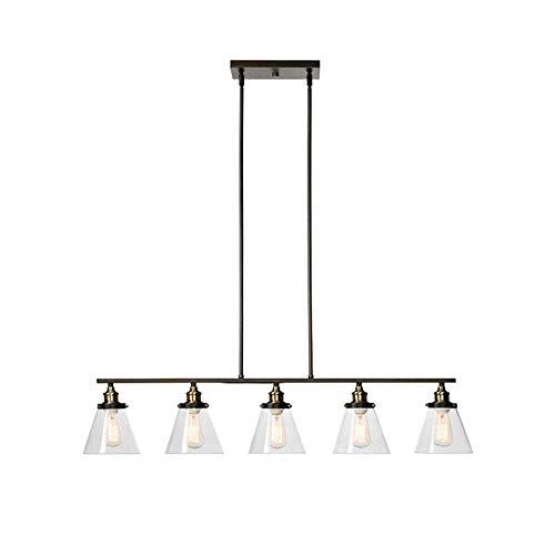 Eingerieben Bronze-insel-licht (Moderne Kronleuchter-Pendelleuchte, 5-Licht Industriedeckenbeleuchtung Unverstellbare Leuchte Mit Klarglas Für Den Esstisch Für Innenbereich, Bronze Mit Öl Eingerieben (Design : 1))