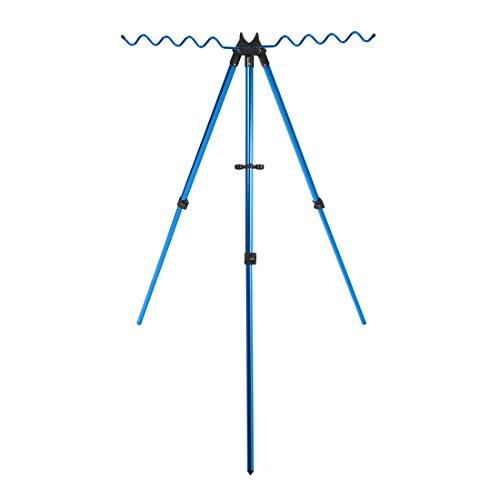 Caña de pescar trípode de aluminio, 9cañas telescópica portátil Rod Holder almacenamiento, Azul