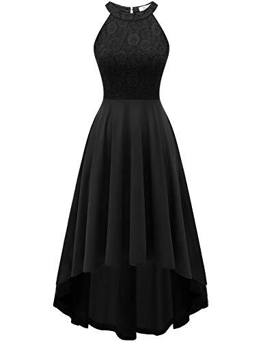 YOYAKER Damen Vintage Retro Spitzen Ärmellos Vokuhila Brautjungfernkleider Cocktail Party Abendkleider Black XL (Schwarz Hochzeit Ball Kleid)
